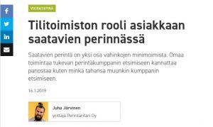 Tilitoimistossa perintä Juha Järvinen vieraskynä